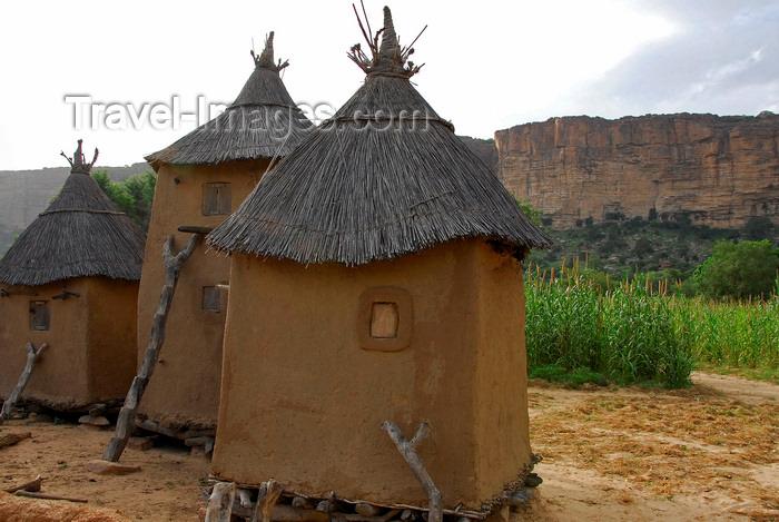mali13: Bandiagara Escarpment, Dogon country, Mopti region, Mali: Dogon granaries with the cliffs in the background - photo by J.Pemberton - (c) Travel-Images.com - Stock Photography agency - Image Bank
