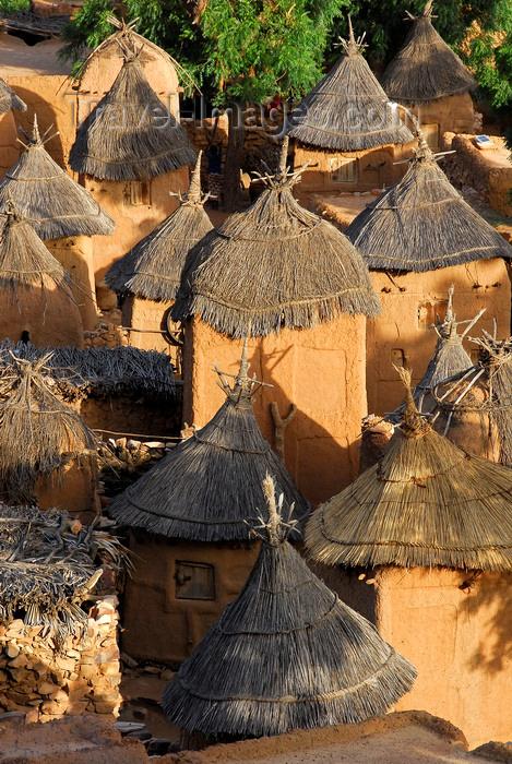 mali68: Bandiagara Escarpment, Dogon country, Mopti region, Mali: Songo village - thatched huts used as granaries - photo by J.Pemberton - (c) Travel-Images.com - Stock Photography agency - Image Bank