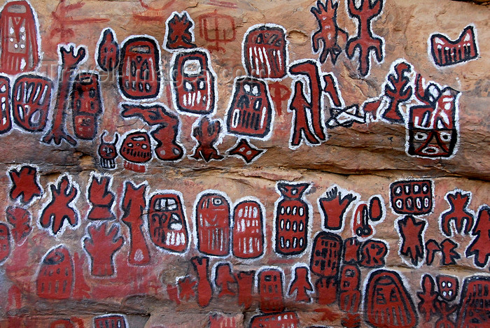 mali69: Bandiagara Escarpment, Dogon country, Mopti region, Mali: Songo village circumcision ceremonial paintings - red paint for the sacrificed blood of the ancestral spirit Nommo - rock paintings on the great vault - photo by J.Pemberton - (c) Travel-Images.com - Stock Photography agency - Image Bank