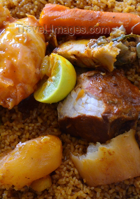 mauritania48: Nouakchott, Mauritania: Thieboudiene, the national dish of Mauritania, fish and rice with vegetables dish (okra, cabbage, carrots, eggplant, potato, squash, red pepper), often a communal dish - photo by M.Torres - (c) Travel-Images.com - Stock Photography agency - Image Bank