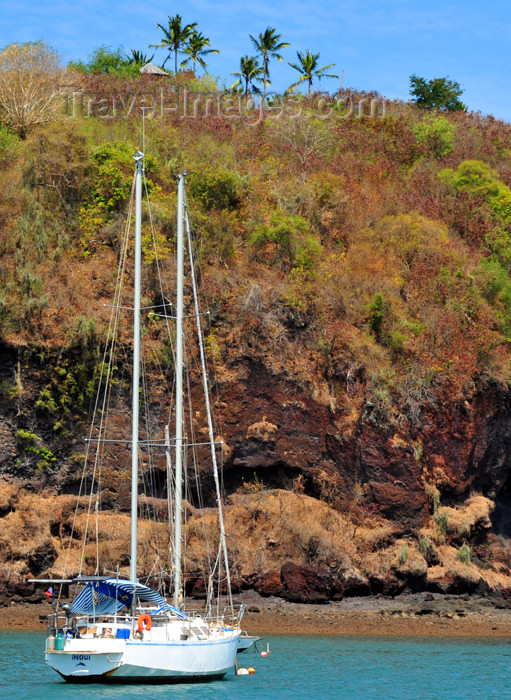 mayotte3: Mamoudzou, Grande-Terre / Mahore, Mayotte: yacht Inouï and the vegetation of Pointe Mahabou - photo by M.Torres - (c) Travel-Images.com - Stock Photography agency - Image Bank