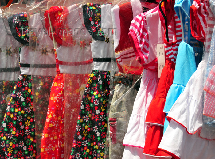 mayotte8: Mamoudzou, Grande-Terre / Mahore, Mayotte: girls' dresses at the market - photo by M.Torres - (c) Travel-Images.com - Stock Photography agency - Image Bank
