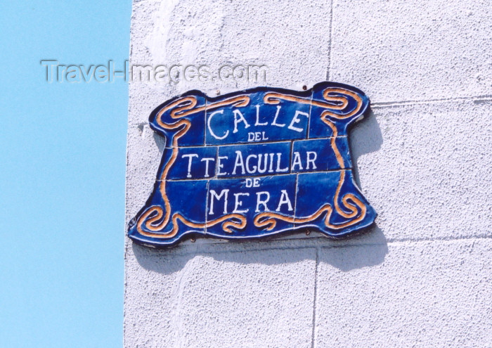 melilla27: Melilla: street name plaque - Calle Teniente Aguilar de Mera - photo by M.Torres - (c) Travel-Images.com - Stock Photography agency - Image Bank