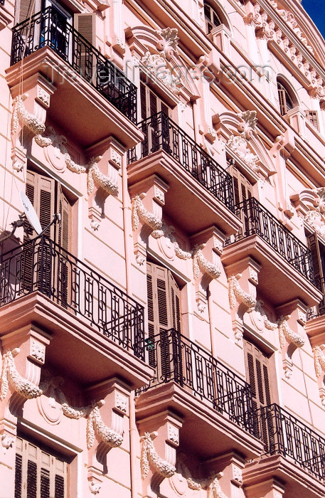 melilla34: Spain - Melilla: pink façade - balconies with console brackets - | fachada rosa - photo by M.Torres - (c) Travel-Images.com - Stock Photography agency - Image Bank