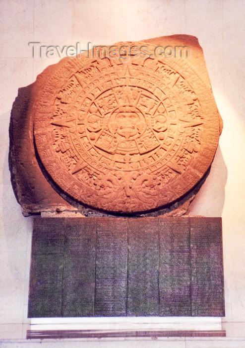 mexico32: Mexico City: National anthropology museum - Aztec calendar - Sun stone / Museo Nacional de Antropologia - calendario Azteca - piedra sol - photo by M.Torres - (c) Travel-Images.com - Stock Photography agency - Image Bank