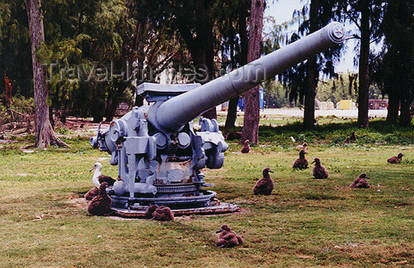 midway4: Midway Atoll: Remnants of World War II - naval gun - photo by G.Frysinger - (c) Travel-Images.com - Stock Photography agency - Image Bank
