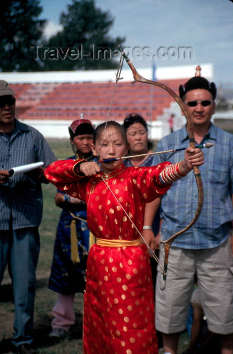 mongolia12: Mongolia - Ulan Bator: Naadam festival - archer in action - photo by A.Summers - (c) Travel-Images.com - Stock Photography agency - Image Bank