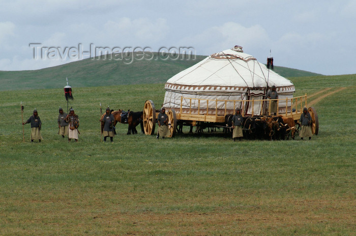 mongolia151: Ulan Bator / Ulaanbaatar, Mongolia: map - mobile HQ - ger / yurt on wheels - celebrations of the 800th anniversary of the Mongolian state - photo by A.Ferrari - (c) Travel-Images.com - Stock Photography agency - Image Bank