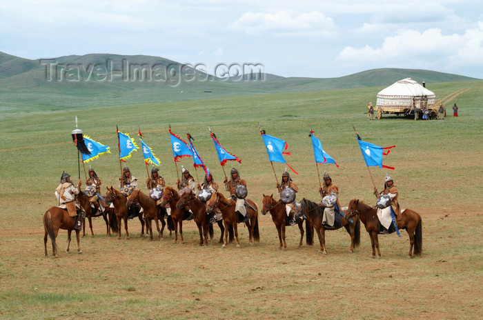 mongolia152: Ulan Bator / Ulaanbaatar, Mongolia: flag bearers - cavalry charge to celebrate the 800th anniversary of the Mongolian state -  - photo by A.Ferrari - (c) Travel-Images.com - Stock Photography agency - Image Bank