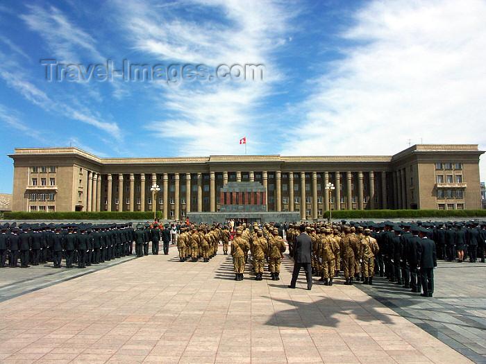 mongolia2: Mongolia - Ulaan Baator / ULN / Ulan Bator: Mongolian Government Palace and Sukhbaatar square - army on parade - photo by P.Artus - (c) Travel-Images.com - Stock Photography agency - Image Bank
