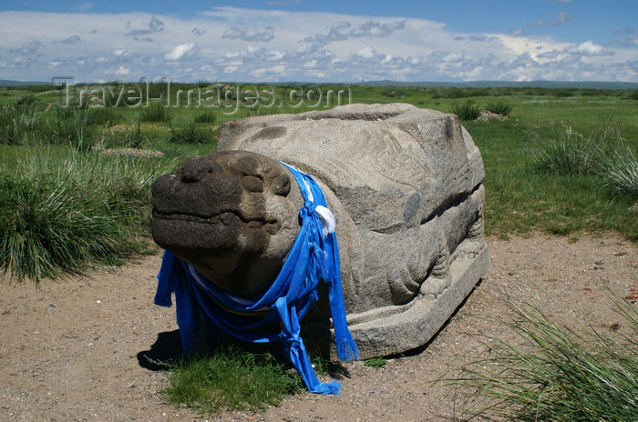 mongolia255: Karakorum, central Mongolia: Turtle Rock with blue scarfs, outside Erdene Zuu monastery, Kharkhorin - photo by A.Ferrari - (c) Travel-Images.com - Stock Photography agency - Image Bank