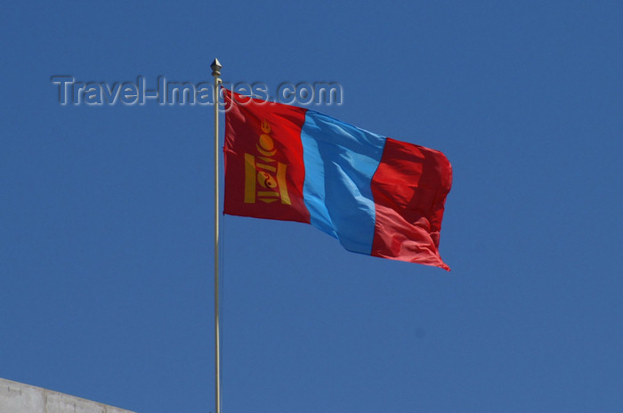 mongolia97: Ulan Bator / Ulaanbaatar, Mongolia: Mongolian flag on Sukhbaatar square - photo by A.Ferrari - (c) Travel-Images.com - Stock Photography agency - Image Bank