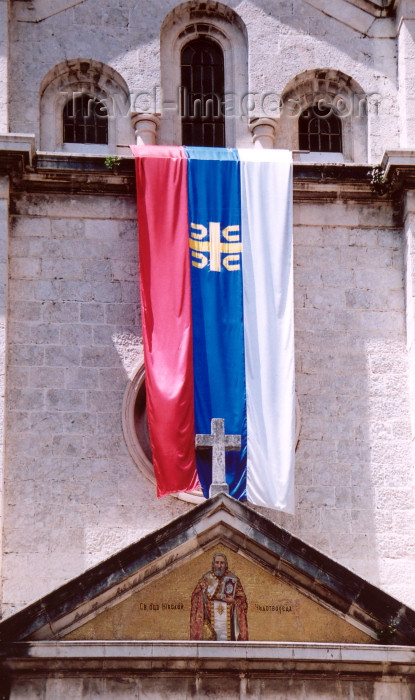 montenegro160: Montenegro - Crna Gora  - Kotor: Serbian flag - church of St Nicholas - photo by M.Torres - (c) Travel-Images.com - Stock Photography agency - Image Bank