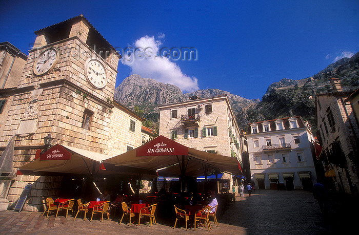 montenegro200: Montenegro - Kotor: clock tower, café and castle - photo by D.Forman - (c) Travel-Images.com - Stock Photography agency - Image Bank