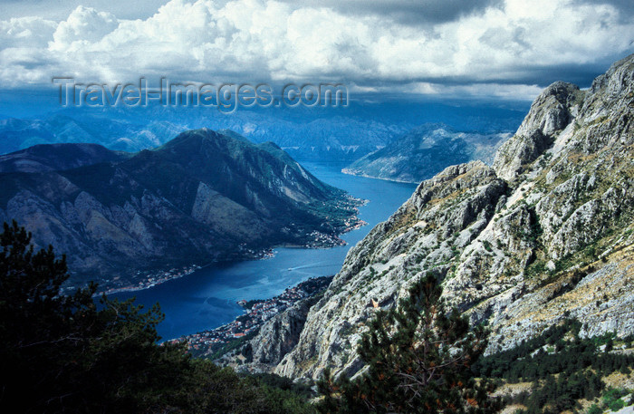 montenegro201: Montenegro - Kotor: Boka Kotorska and the town seen from the mountains - fjord - bocche di Cattaro - photo by D.Forman - (c) Travel-Images.com - Stock Photography agency - Image Bank