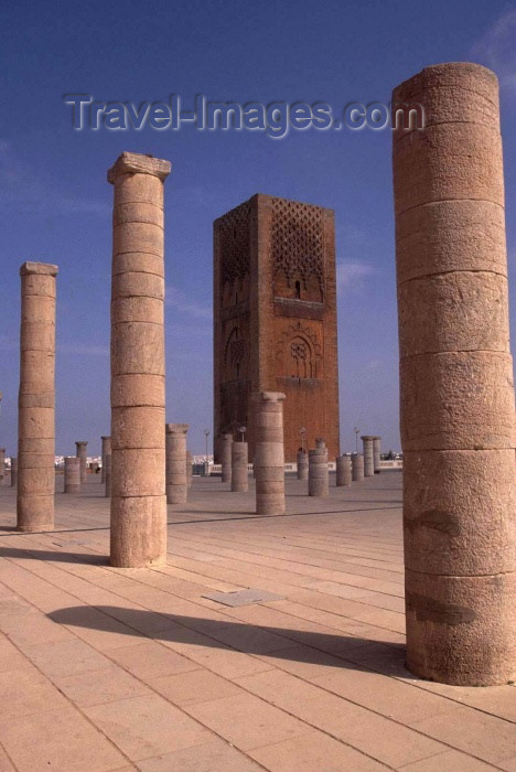 moroc131: Morocco / Maroc - Rabat: Hassan mosque and tower - a few columns spared by the 1755 Great Lisbon Earthquake - photo by F.Rigaud - (c) Travel-Images.com - Stock Photography agency - Image Bank