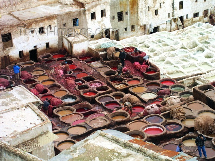 moroc158: Morocco / Maroc - Fez: the tanneries - Leather dyeing vats in Fes - photo by J.Kaman - (c) Travel-Images.com - Stock Photography agency - Image Bank