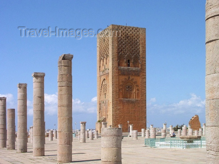 moroc234: Morocco / Maroc - Rabat: Hassan tower and the ruined main prayer hall of the Hassan mosque - photo by J.Kaman - (c) Travel-Images.com - Stock Photography agency - Image Bank