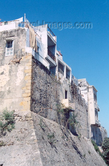 moroc39: Morocco / Maroc - Tangier / Tanger: houses built over the Portuguese ramparts - Rue du Portugal - photo by M.Torres - (c) Travel-Images.com - Stock Photography agency - Image Bank