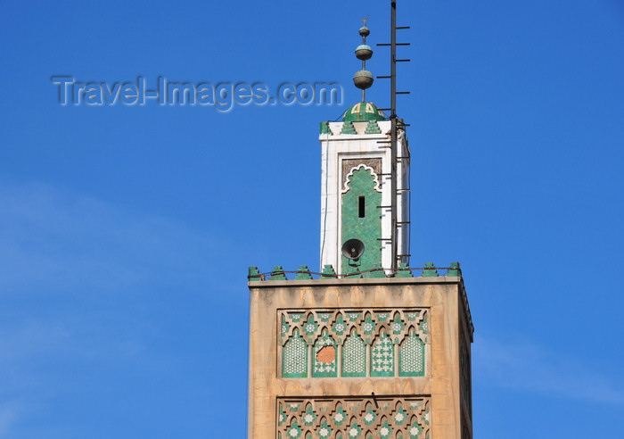 moroc536: Casablanca, Morocco: minaret of Al-Djemma Mosque - Medina, near Bab Marrakech - photo by M.Torres - (c) Travel-Images.com - Stock Photography agency - Image Bank