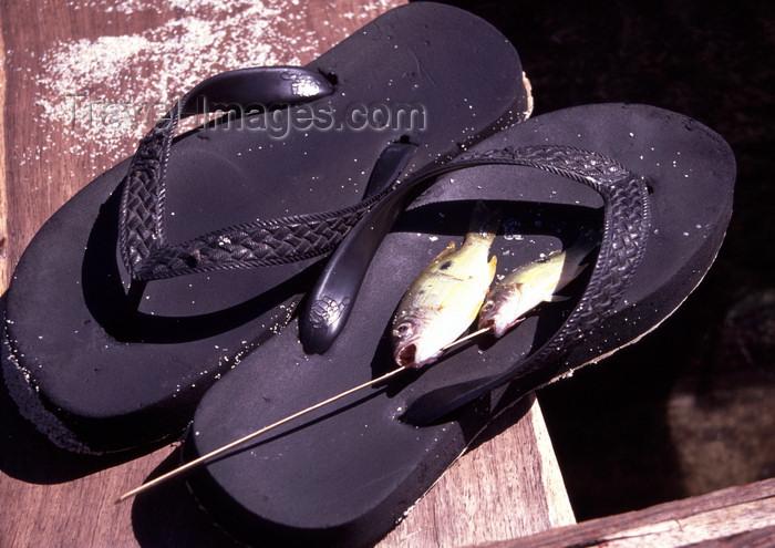 mozambique196: Pemba / Porto Amélia, Cabo Delgado, Mozambique / Moçambique: catch of the day - fish on flip-flops / peixes e chinelos - photo by F.Rigaud - (c) Travel-Images.com - Stock Photography agency - Image Bank