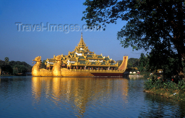 myanmar171: Myanmar / Burma - Yangoon: the Royal Barge in Kandawgyi Nature Park, the original barge, in Mandalay, was destroyed during British colonial rule - photo by D.Forman - (c) Travel-Images.com - Stock Photography agency - Image Bank