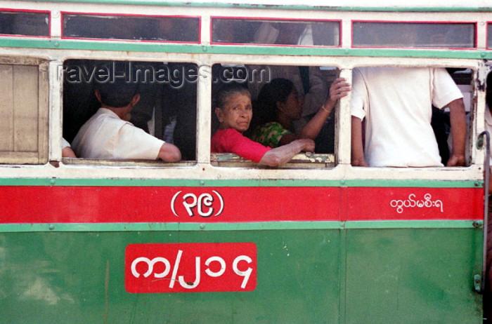 myanmar177: Myanmar / Burma - Yangon / Rangoon: bus window - urban public transportation (photo by J.Kaman) - (c) Travel-Images.com - Stock Photography agency - Image Bank