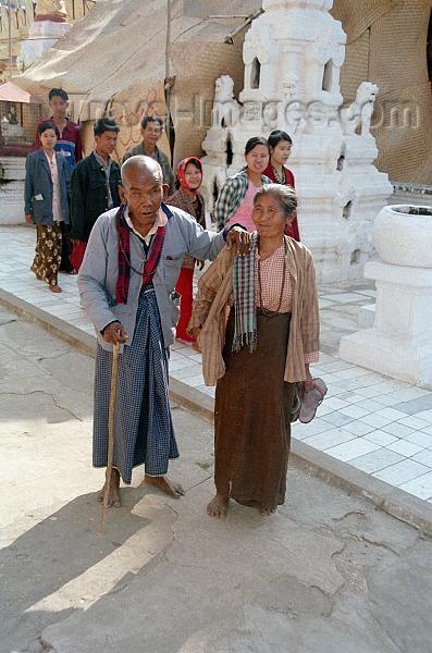 myanmar5: Myanmar / Burma - Bagan (Mandalay division): blind man and his wife (photo by J.Kaman) - (c) Travel-Images.com - Stock Photography agency - Image Bank
