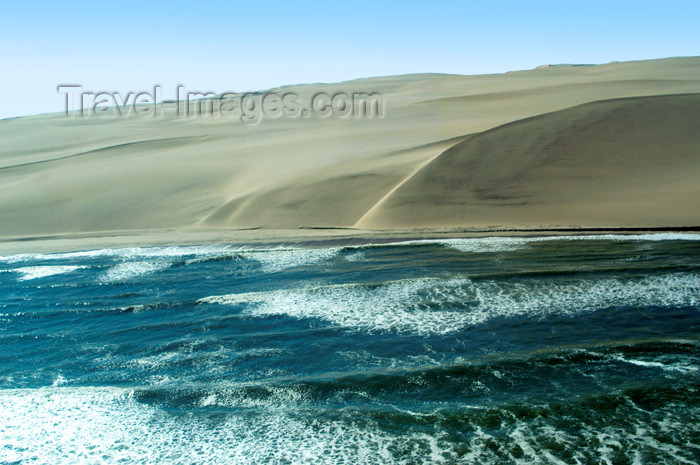 namibia110: Namibia: Aerial view of Skeleton Coast where ocean meets sand dunes, Kunene region - photo by B.Cain - (c) Travel-Images.com - Stock Photography agency - Image Bank