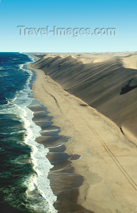 namibia117: Namibia: Aerial view of Skeleton Coast - Ocean meets Sand dunes - looking north, Kunene region - photo by B.Cain - (c) Travel-Images.com - Stock Photography agency - Image Bank