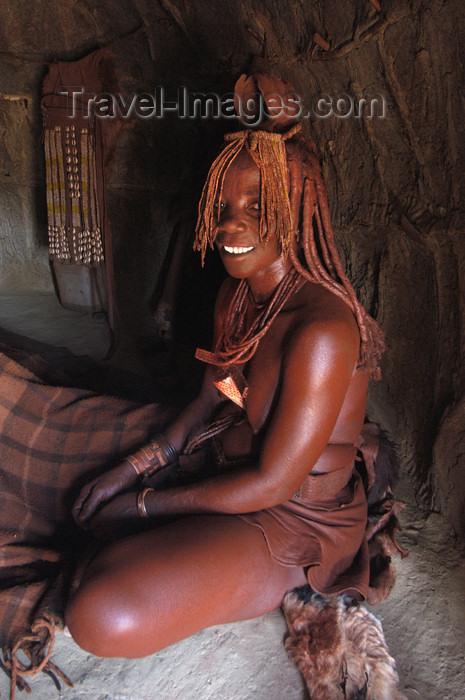 namibia149: Namibia: Himba Woman sitting in hut, Skeleton Coast, Kunene region - photo by B.Cain - (c) Travel-Images.com - Stock Photography agency - Image Bank