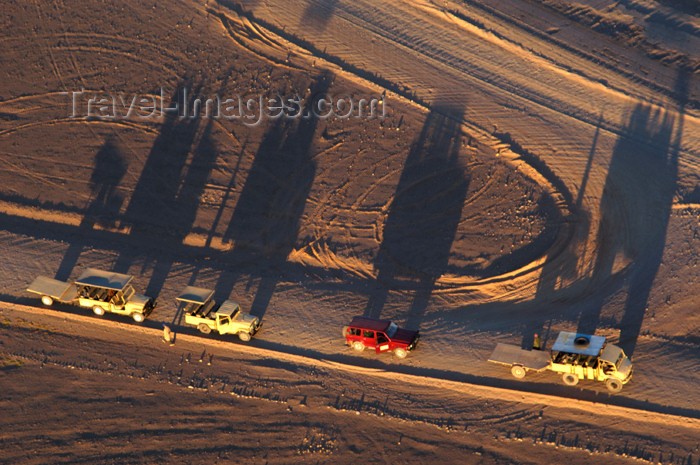 namibia152: Namibia: Aerial View of Hot Air Balloon Chase vehicles - long shadows just after sunrise, Sossusvlei - photo by B.Cain - (c) Travel-Images.com - Stock Photography agency - Image Bank