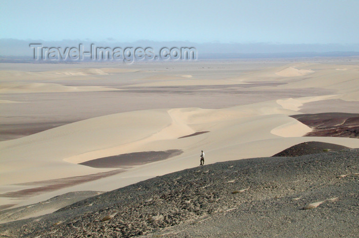 namibia171: Namibia: Person walking at scenic overlook, Skeleton Coast - photo by B.Cain - (c) Travel-Images.com - Stock Photography agency - Image Bank