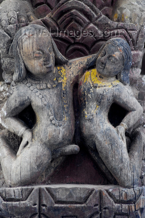 nepal136: Kathmandu, Nepal: happy couple - amorous wood sculpture in an Hindu temple - photo by E.Petitalot - (c) Travel-Images.com - Stock Photography agency - Image Bank