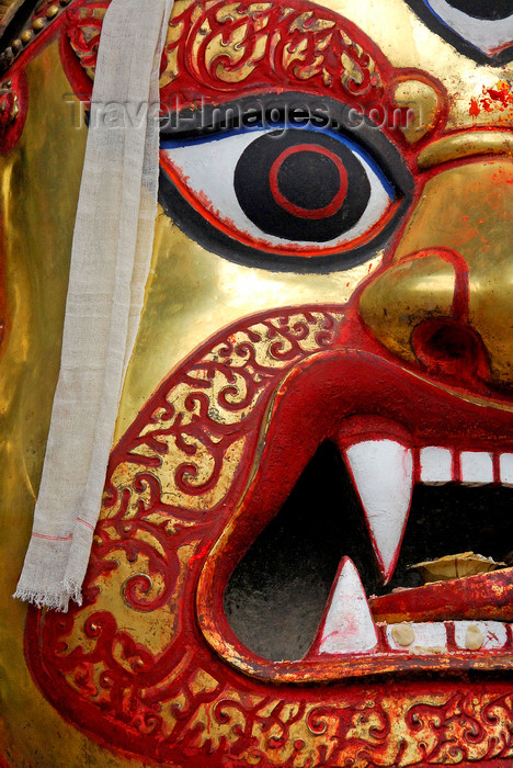 nepal192: Kathmandu, Nepal: Seto Bhairab (White Demon) golden mask in Durbar Square - revealed for Indra Jatra festival - one of the most important deities of Nepal, sacred to Hindus and Buddhists alike - photo by J.Pemberton - (c) Travel-Images.com - Stock Photography agency - Image Bank