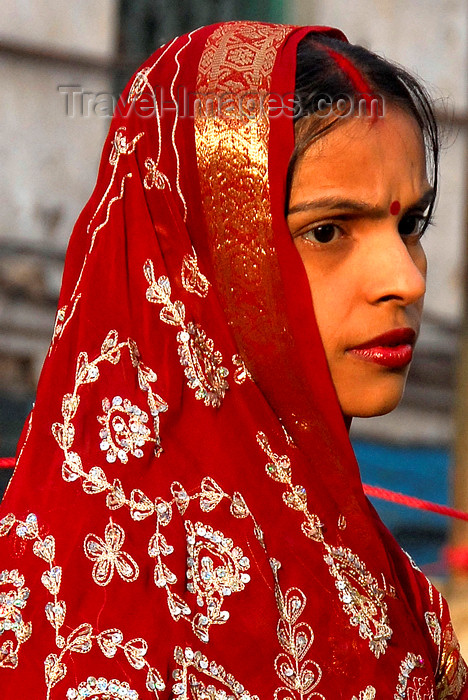 nepal200: Kathmandu, Nepal: young woman in red sari and tilaka on the forehead - photo by J.Pemberton - (c) Travel-Images.com - Stock Photography agency - Image Bank