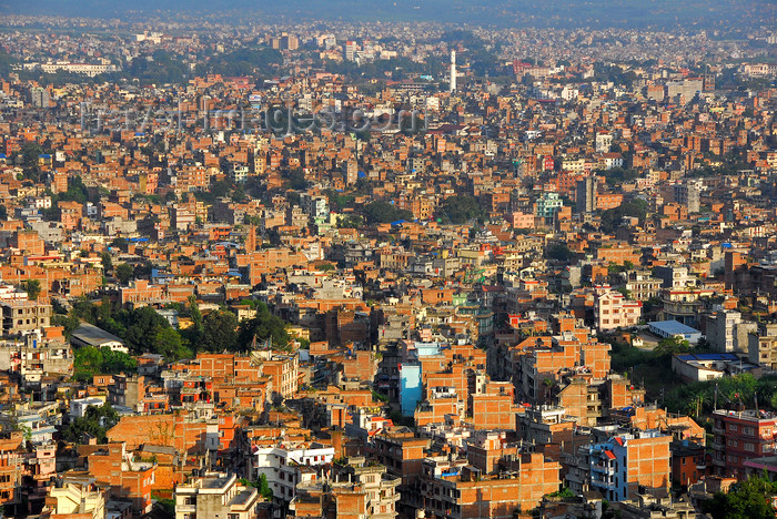 nepal214: Kathmandu, Nepal: view over Kathmandu - ocean of red bricks - photo by J.Pemberton - (c) Travel-Images.com - Stock Photography agency - Image Bank