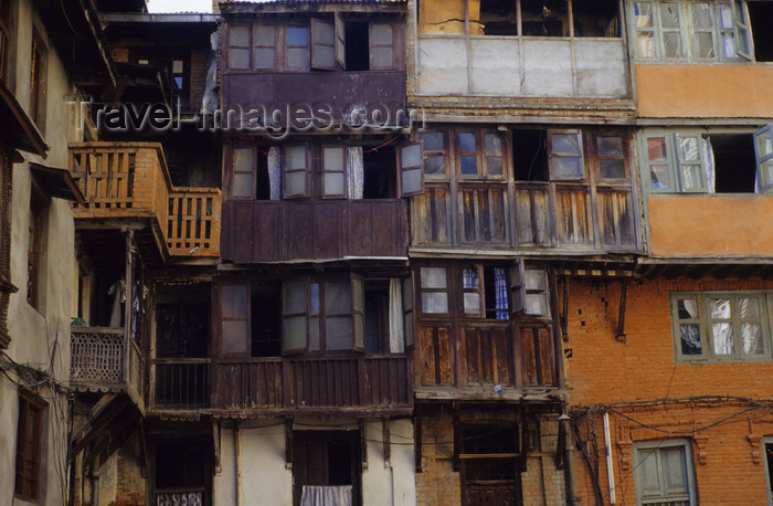 nepal279: Kathmandu, Nepal: timber balconies - housing in the old town - photo by W.Allgöwer - (c) Travel-Images.com - Stock Photography agency - Image Bank