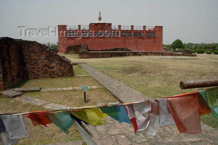 Nepal: Buddhist pilgrimage site - birthplace of Buddha - prayer flags
