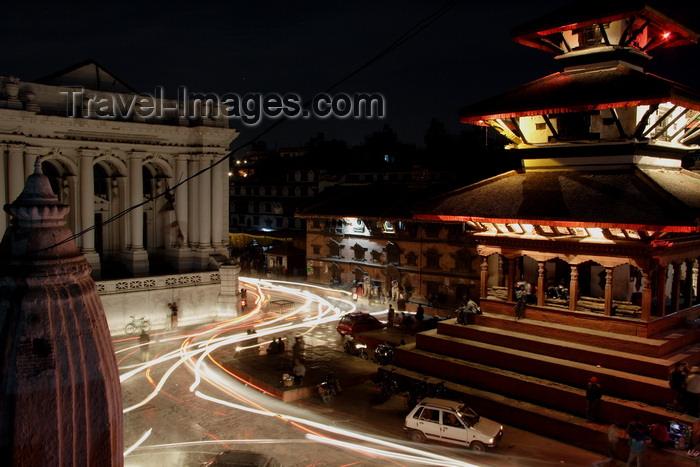 nepal455: Kathmandu, Nepal: night time at Durbar Square - lines of light - photo by G.Koelman - (c) Travel-Images.com - Stock Photography agency - Image Bank