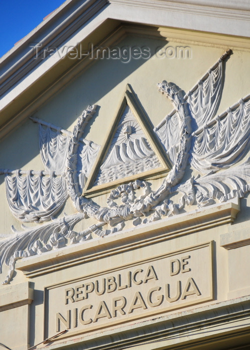 nicaragua71: Managua, Nicaragua: Palace of Culture - National Museum - Nicaraguan coat of arms in the tympanum - Palacio Nacional de la Cultura - Museo Nacional - Zona Monumental - photo by M.Torres - (c) Travel-Images.com - Stock Photography agency - Image Bank