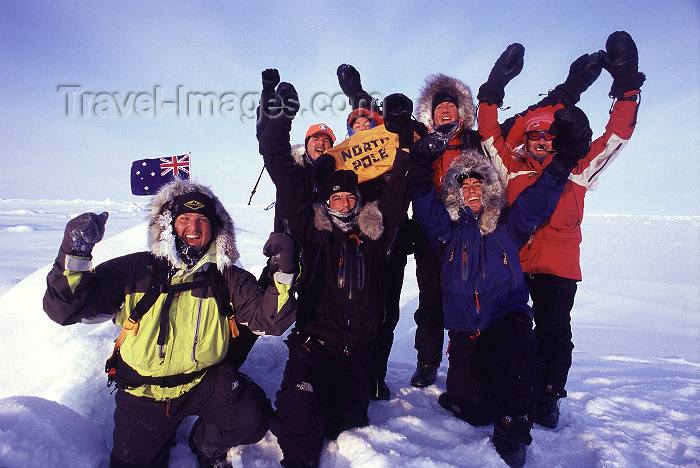 north-pole11: North Pole: team at the North Geographic Pole, celebrating - Australian flag (photo by Eric Philips) - (c) Travel-Images.com - Stock Photography agency - Image Bank