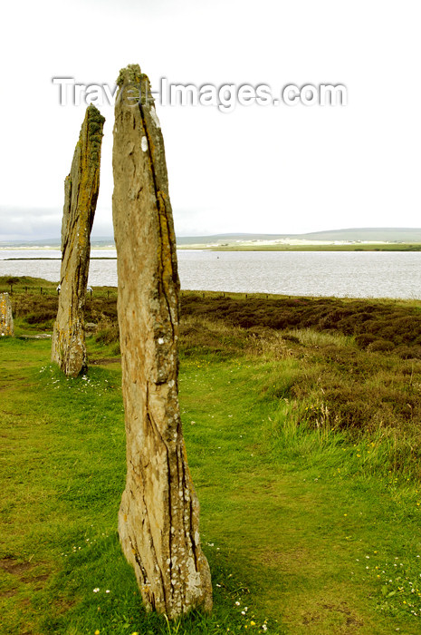 orkney35: Orkney island, Mainland - Because the interior of the Ring o' Brodgar has never been fully excavated or scientifically dated, the monument's age remains uncertain. However, it is generally thought to have been erected between 2500 BC and 2000 BC, and was  - (c) Travel-Images.com - Stock Photography agency - the Global Image Bank