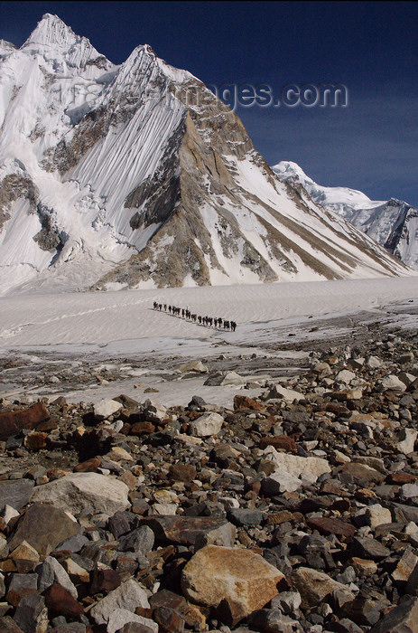pakistan121: Pakistan - Baltoro Glacier - Karakoram mountains - Himalayan range - Northern Areas: Balti porters cross the Baltoro Glacier - photo by A.Summers - (c) Travel-Images.com - Stock Photography agency - Image Bank