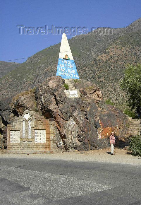 pakistan157: Swat district, North-West Frontier Province / NWFP, Pakistan: Karakoram Highway obelisk, near Shiwi - FWO, Frontier Works Organization monument celebrating the construction of the KKH / N35 - photo by D.Steppuhn - (c) Travel-Images.com - Stock Photography agency - Image Bank