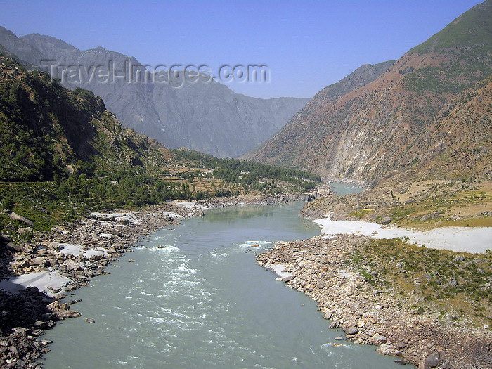 pakistan159: Besham Qala, Shangla District, North-West Frontier Province / NWFP, Pakistan: the Indus river and its valley - photo by D.Steppuhn - (c) Travel-Images.com - Stock Photography agency - Image Bank