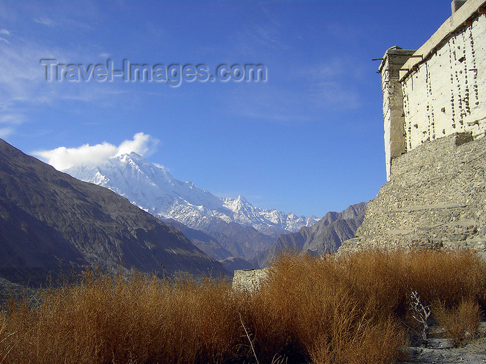 pakistan166: Karimabad / Baltit - Northern Areas, Pakistan: Rakaposhi peak and Baltit fort - Hunza Valley - KKH - photo by D.Steppuhn - (c) Travel-Images.com - Stock Photography agency - Image Bank