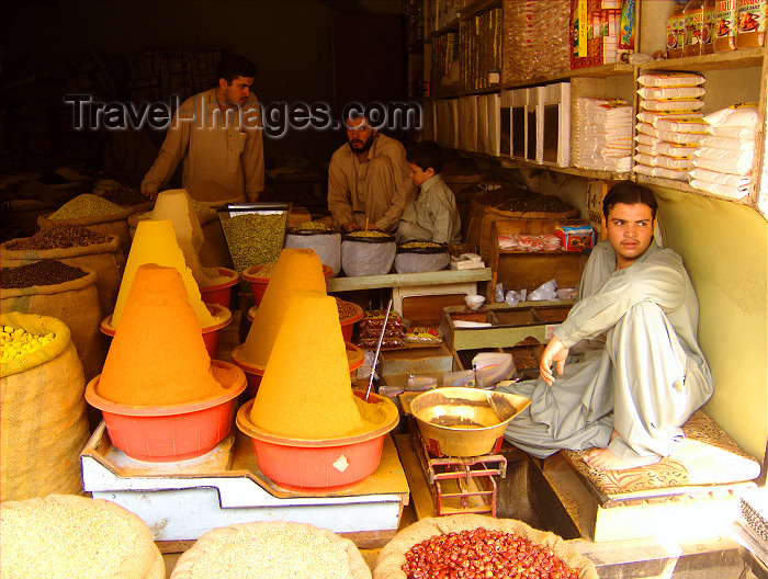 pakistan17: Pakistan - Peshawar: spices and shop keeper - market - commerce - photo by A.Summers - (c) Travel-Images.com - Stock Photography agency - Image Bank