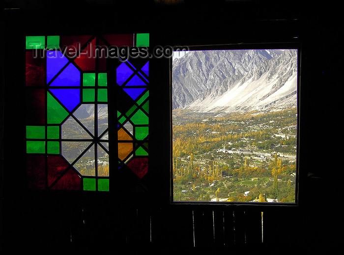 pakistan172: Karimabad / Baltit - Northern Areas, Pakistan: window over the village and the Hunza Valley - Baltit fort - KKH - photo by D.Steppuhn - (c) Travel-Images.com - Stock Photography agency - Image Bank