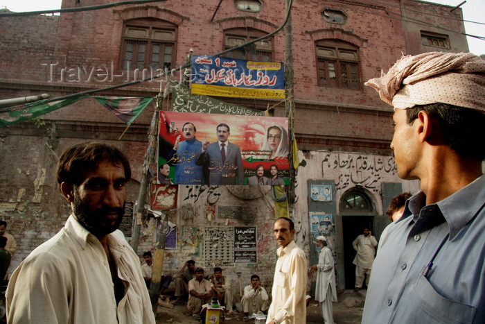 pakistan194: Lahore, Punjab, Pakistan: Bhuto poster - Pakistani politics - people in the streets - photo by G.Koelman - (c) Travel-Images.com - Stock Photography agency - Image Bank